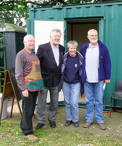 Allotments chair Alan Billany; Doug Orchard; Jackie Dungate, Allotments Officer LBRuT; Nigel Cooper, Thames Community Foundation. Photograph by Yvonne Hewett